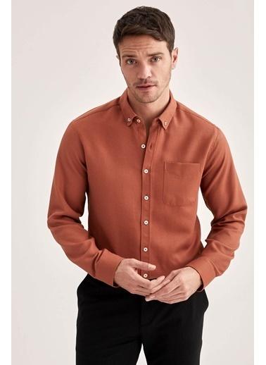 DeFacto Slim Fit Uzun Kollu Cepli Gömlek Oranj